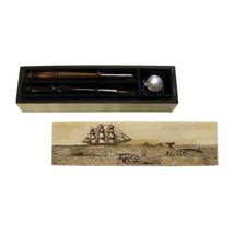 "10"" Whaling Bone Pen Box with Cobalt Inkwell, Wood Nib Pen, Black Horn N... - $59.35"