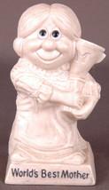 "WORLDS BEST MOTHER-Vintage Russ Berrie Unbreakable-6.5""-Figurine Statue-70-White - $14.95"