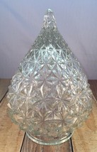 Vintage Unique Rare Diamond Quilted Clear Glass Light Fixture Tear Acorn... - $32.71