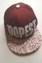 Dopest Burgundy And White Baseball Cap Embroidered Letters Adjustable Hat - $4.98