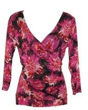 Elle Misses Purple Pink Floral Long Sleeve LS V Neck Surplice Mesh Blous... - $24.99