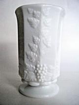 Vintage Westmoreland Paneled Grape Milk Glass Pedestal Vase - $12.82