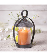 CANOPY JAR CANDLE HOLDER Punched Tin Shade in Smokey Black Finish - $27.69