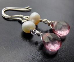 Pink Quartz Drop Earrings, Pearl Earrings, Mystic Quartz Sterling Silver Teardro - $30.00