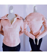 NWT designer Bloomingdale's Cotton pink Sweater chunky Knit Large Collar... - $157.50