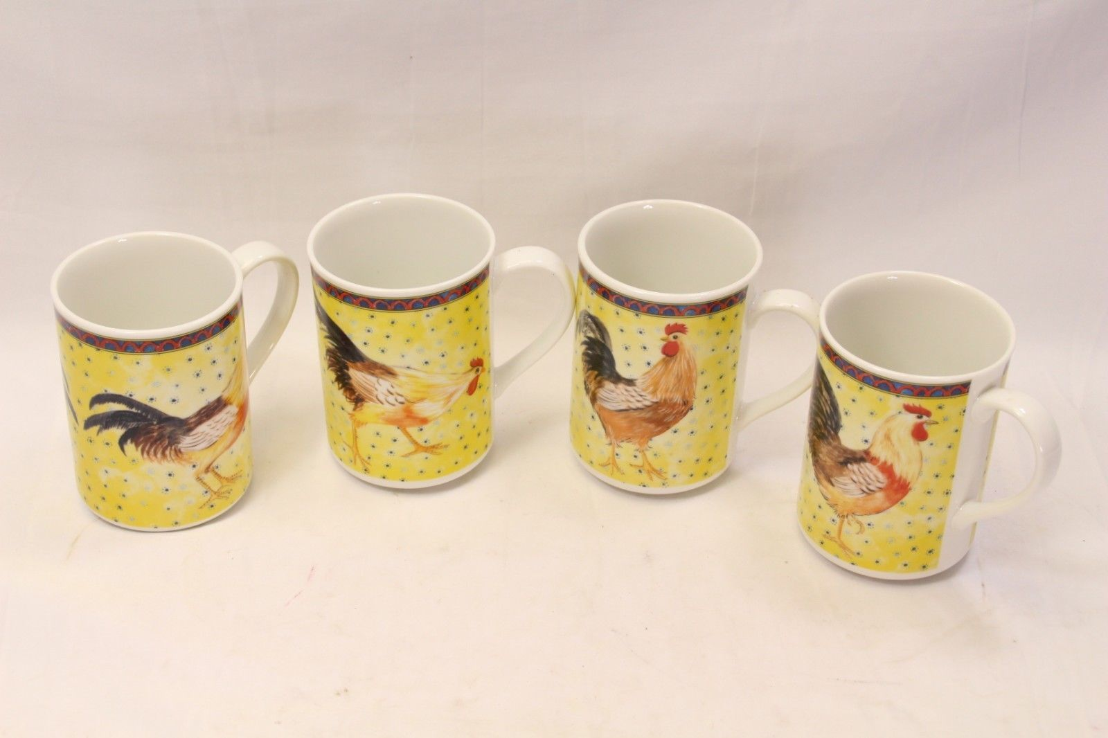 American Atelier Petite Provence Rooster Mugs Set of 12