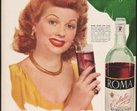 Vintage magazine ad ROMA WINE from 1948 Lucille Ball Hollywood star pic 2 page