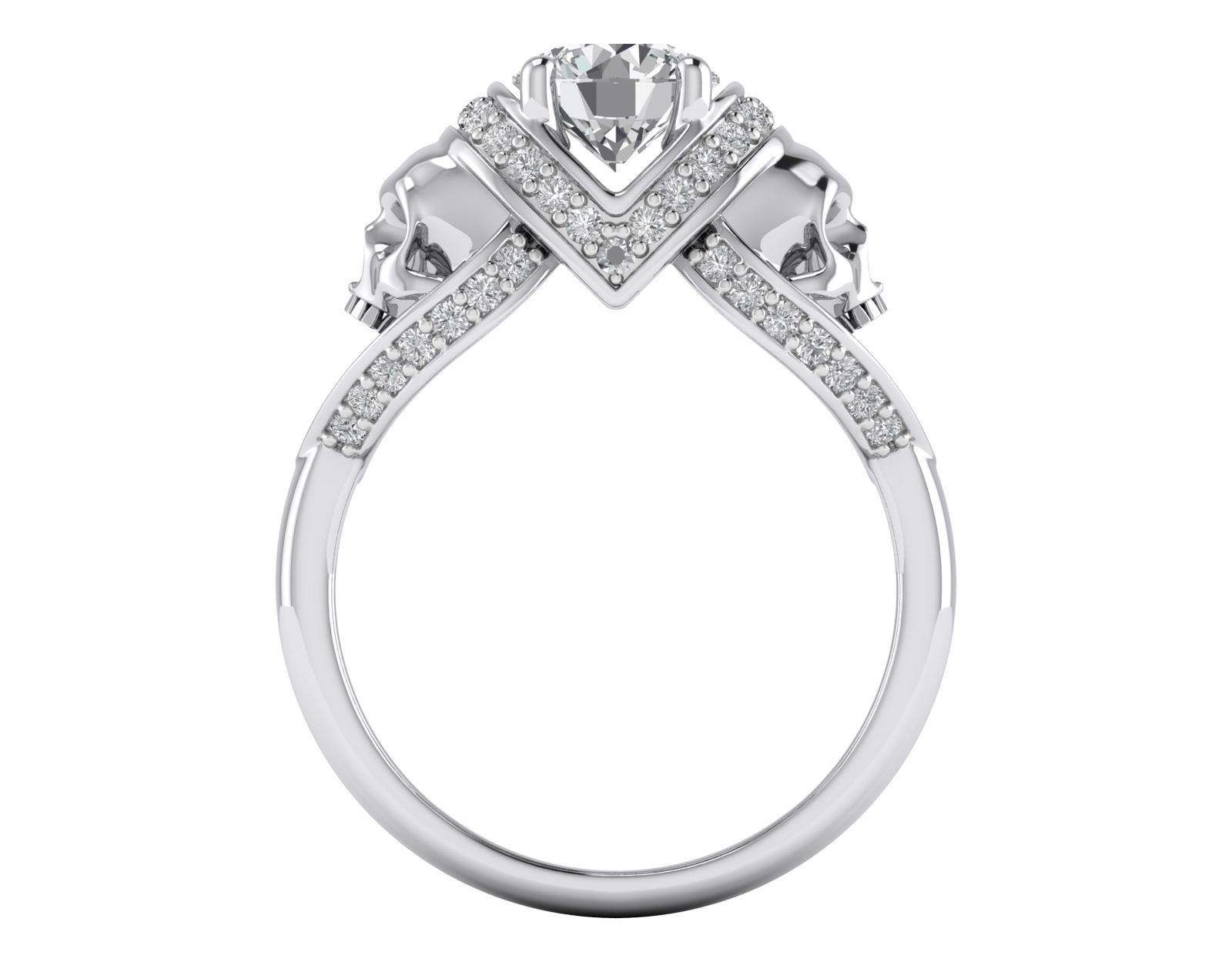 3 Carat Diamond 925 Silver Vapor Skull Engagement
