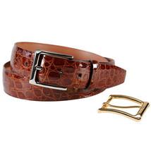 Trafalgar Chestnut Newington Genuine Crocodile Belt - $250.00