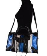New Balenciaga $2,350 Colorblock Blue Leather Arena City Crossbody Bag P... - $1,153.85