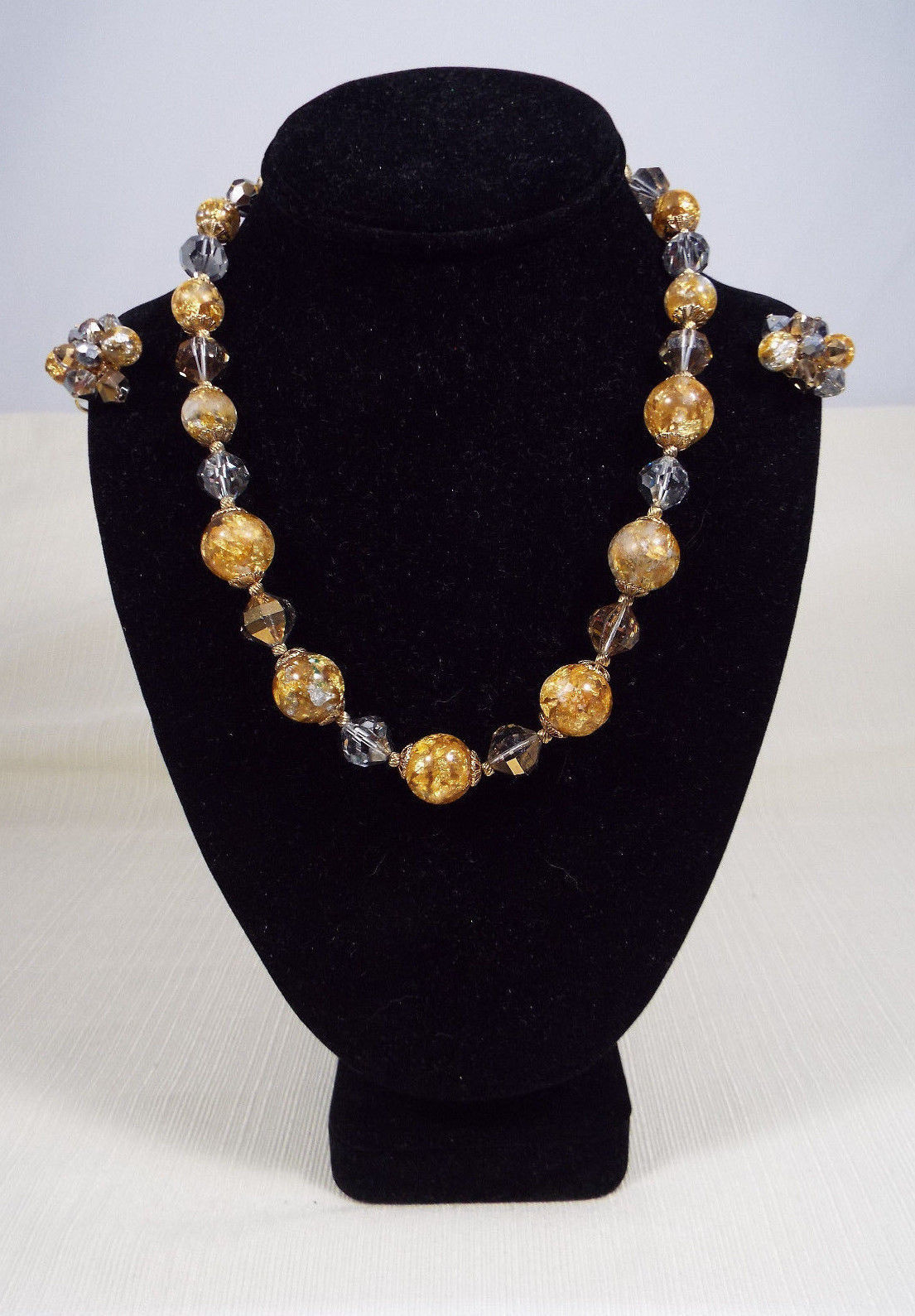 Vintage Couture Signed Vendome Gold Foil Bead Crystal Necklace and Clip Earrings - $299.99