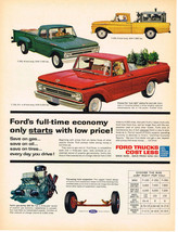 Vintage 1962 Magazine Ad For Ford Trucks Low Price & Economical To Operate - $5.93