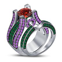 Disney Princess Womens Wedding Bridal Ring Set 14k White Gold Finish 925... - $108.99