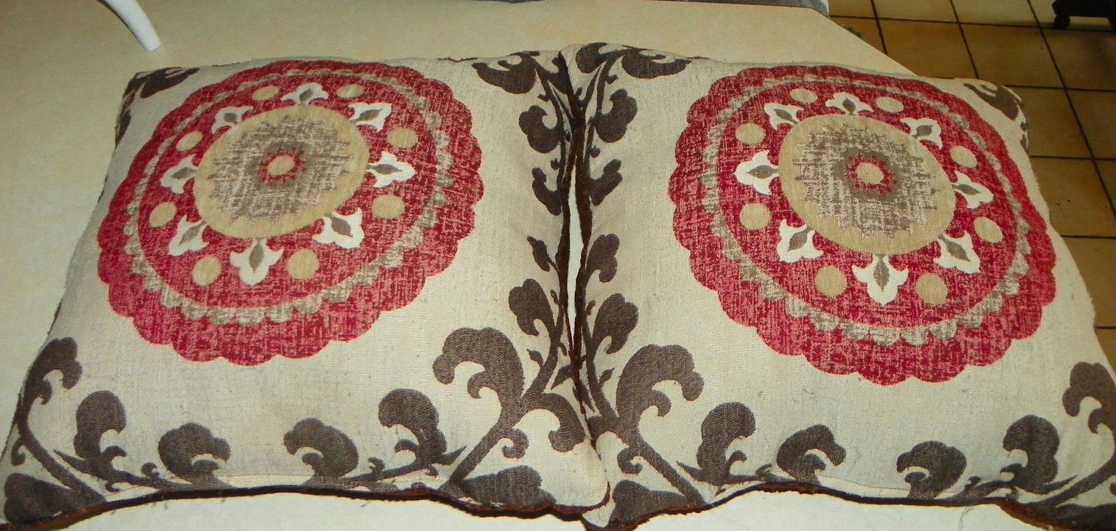 Pair of Burgundy Beige Brown Abstract Print Throw Pillows 20 x 20