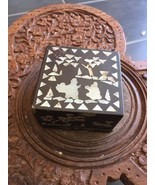 Black Asian Design With White Silvery Color Wooden Box Chest - $11.19