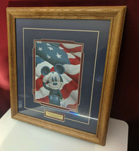 Disney - Mickey Salutes America Matted Framed Lithograph Print Flag Vete... - $89.95