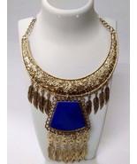 Necklace Bib Fringe Chain Gold Oxidized Jewelry Ethnic Boho Fusion India... - $12.86