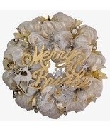 Merry And Bright Christmas Silver And Gold Deco Mesh Wreath - $89.99