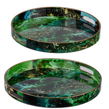 Modern Chic Blue Green Trays Set Of 2 - 44049 - £46.52 GBP