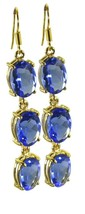 Blue Gold Plated Fashion handsome Blue Shappire CZ casually Earring UK gift - $13.17