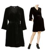 $378 Eileen Fisher Black Velvet Bell Sleeve Wrap Dress M or XL - $220.50
