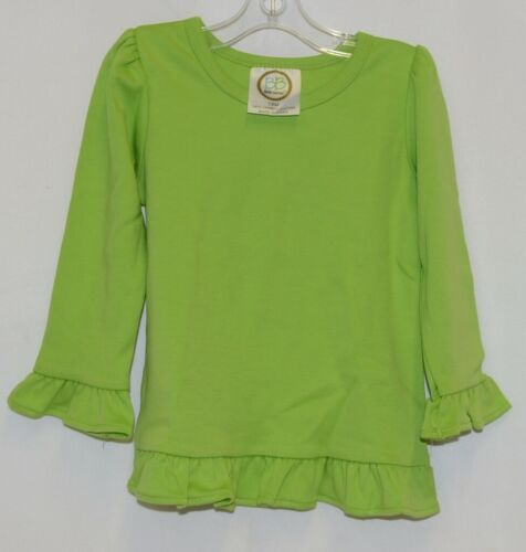 Blanks Boutique Lime Green Girls  Long Sleeve Cotton Ruffle Shirt Size 18M