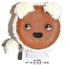 COACH Bear Coin Purse Leather Shearling Trim Brown Case Bag NWT MSRP $95.00 - $1.113,17 MXN