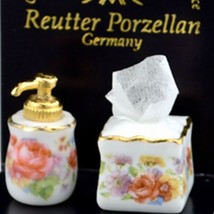 DOLLHOUSE Soap Dispenser & Tissue Set Reutter 1.911/0 Dresden Rose Miniature - $10.34