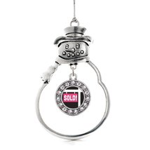 Inspired Silver Sold Circle Snowman Holiday Christmas Tree Ornament With Crystal - $14.69