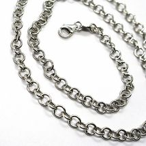 18K WHITE GOLD CHAIN 17.70 IN, ROUND CIRCLE ROLO LINK, DIAMETER 4 MM MADE ITALY image 3