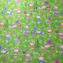 """Easter Bunnies on Green Glitter Fabric Traditions 44"""" wide By the Yard C... - $8.79"""