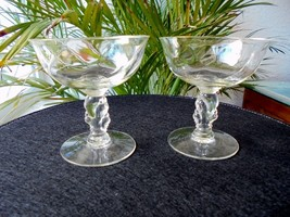 Set of 2 Heisey Waverly Pattern Champagne Glasses c 1950 - $24.74