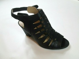 Naturalizer Womens Talan Fabric Size 9M Open Toe Black Slingback Latte Fab #1L - $34.96