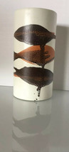 "Royal Haeger Mid Century White Brown Burnt Orange Earth Wrap Crackle Vase 7"" D21 - $29.69"