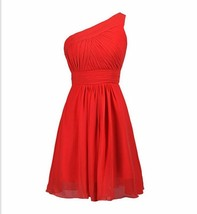 Red Chiffon Cocktail Party Dress One Shoulder Bridesmaids Dresses Ruffle Women - $40.22