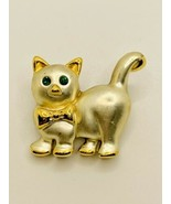 Brooch Cat Gold Tone Green Eyes - $11.88
