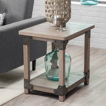 Wood Metal Farmhouse Rustic Aged Driftwood Finish End Table Storage Furn... - $207.89