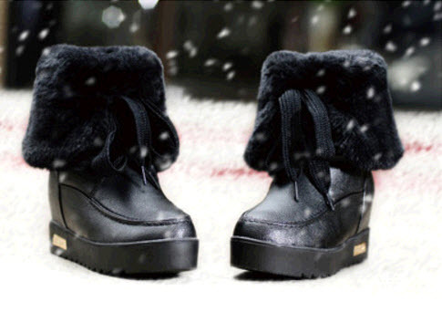 Primary image for PB152 cute short snow boots, genuine leather, US Size 5-9, BLACK
