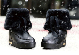 PB152 cute short snow boots, genuine leather, US Size 5-9, BLACK - $1.329,86 MXN