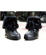 PB152 cute short snow boots, genuine leather, US Size 5-9, BLACK - €63,59 EUR