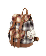 Burlington Brown and Gray Plaid Backpack Crocheted Accent School Book Ba... - $28.79