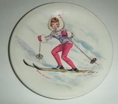 "Vintage Tammy Doll Metal Tea Set Play Plate by Ideal 4 3/4"" 1960's Skiier - $10.89"