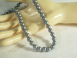 KYSKA Steel Grey Faux Pearls Choker Necklace Vintage Pearly Gray Office Career image 3