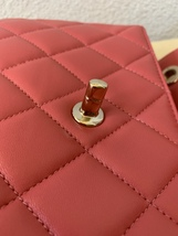 AUTH CHANEL QUILTED LAMBSKIN CORAL PINK TRENDY CC 2 WAY HANDLE FLAP BAG GHW image 7
