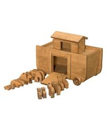 BIG NOAH'S ARK WOOD PULL TOY 14 Animals Handcrafted Wooden BIBLE STORY P... - $130.65