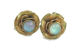 Vintage textured gold-tone Flower stud earrings with faux Opal center stone - $26.73