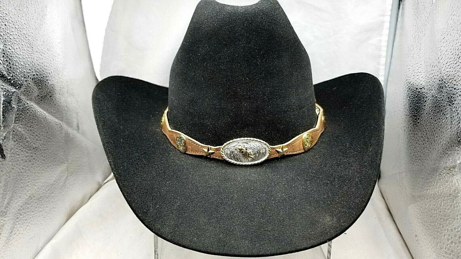 HATBAND I HEART BULLRIDER Scalloped Brown Leather w STAR Conchos Cowboy Hat Band