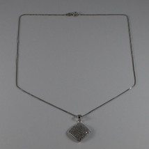 .925 SILVER RHODIUM NECKLACE WITH RHOMBUS WITH ZIRCONIA AND VENETIAN MESH image 2