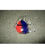 "Murano Style Italian Art Glass Royal Blue and Orange 5.5"" x 4"" Tropical Fish - $23.76"