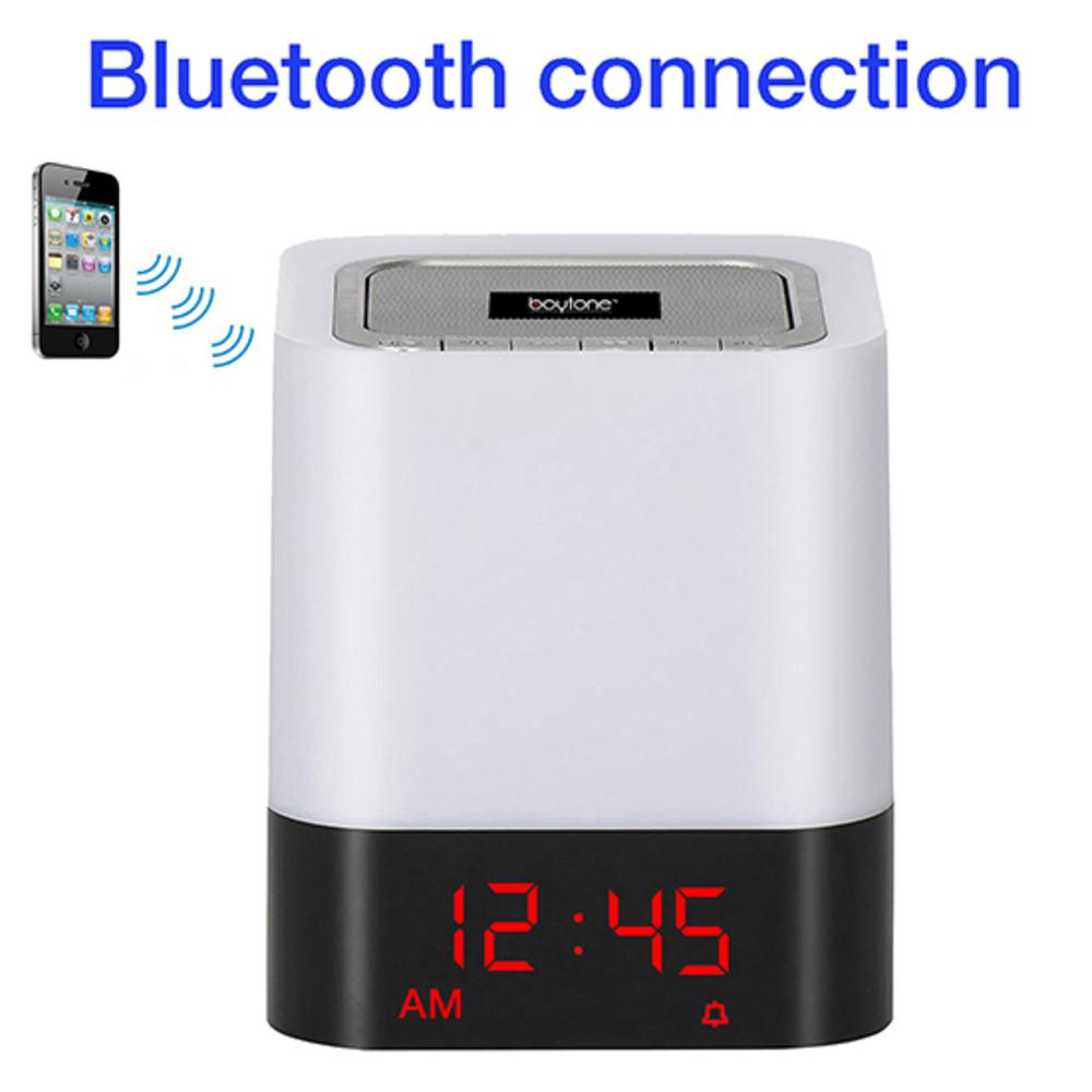 Boytone BT-83CR Portable FM Radio Alarm Clock Wireless Bluetooth 4.1 Speaker, 3-